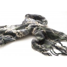 Handwoven scarf inspired from the exposed rocks from the outgoing tide at Lulworth cove. Using the textures from the seaweed, rocks and sea.Tussah Silk, botany wool, wool loop yarn, mohair , ribbon and lurex yarns.  Finalist for the John Singer Sargent Art Prize 2014