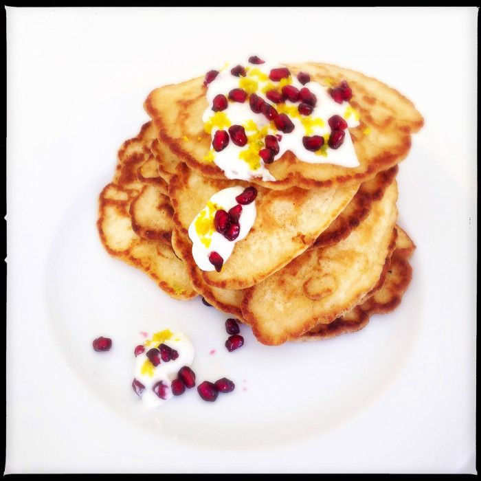 Add a bit of honey, and you're set! Coconut Pancakes with Pomegranate Jewels - Jamie Oliver