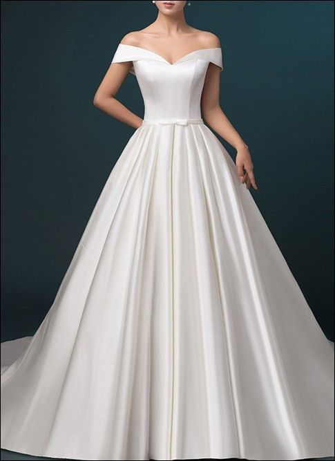 Satin wedding ceremony gown a-line with pockets