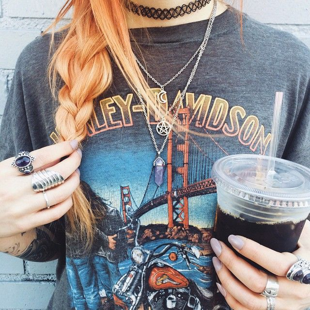 red hair ginger hair coffee tea choker grunge alternative fashion style