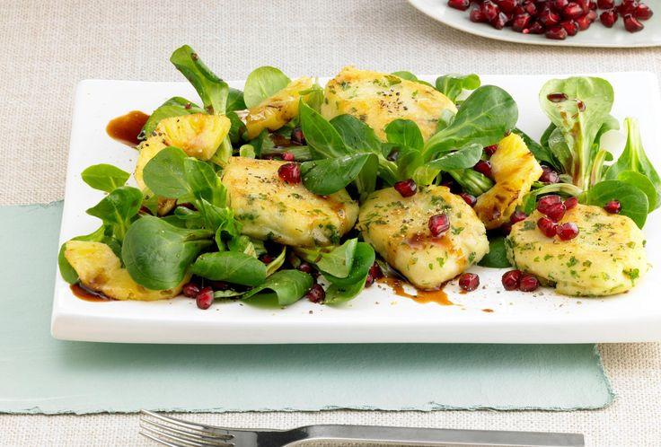 Fruchtiger Feldsalat mit Kartoffelplätzchen | Pfanni