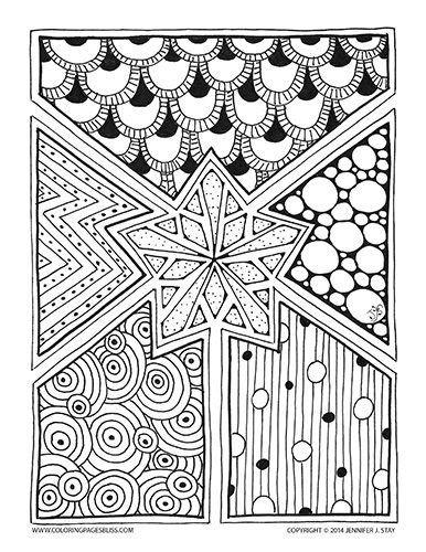 Snowflake Star Coloring Page For Adults Hand Drawn Zentangle Inspired This