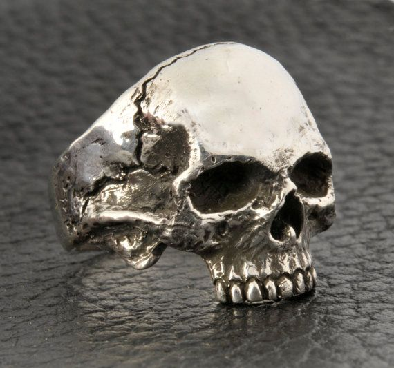 Skull RingHalf Jaw Mens Silver Skull Ring Biker ring by DeadRings