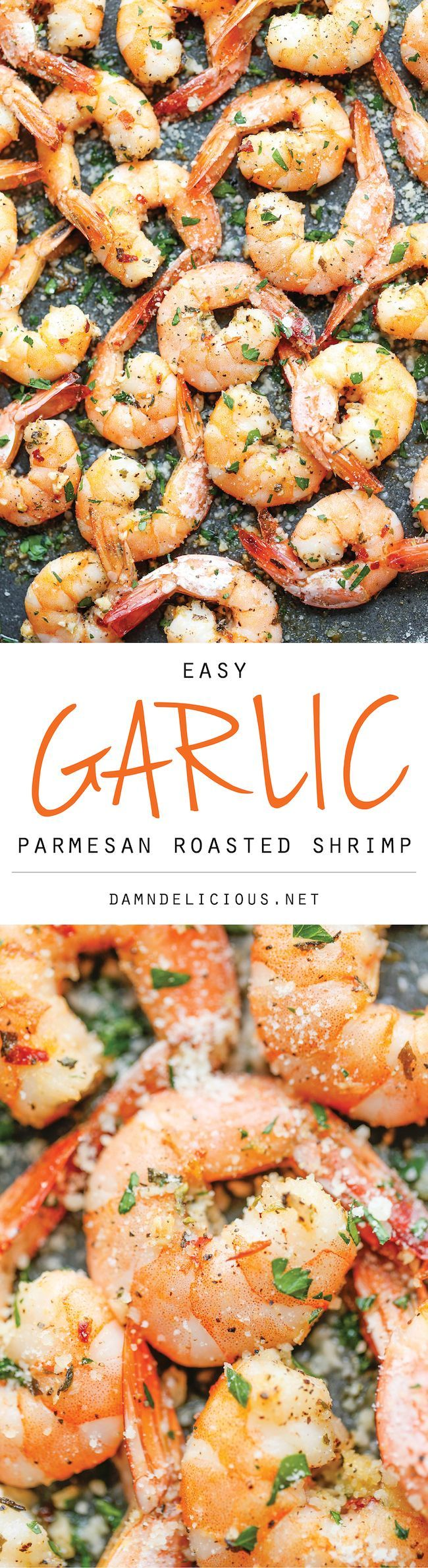 Garlic Parmesan Roasted Shrimp -  Easy and just 5 minutes prep #shrimp #garlic #recipe