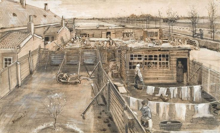 VINCENT VAN GOGH  (1853 - 1890)  Carpenter's yard and laundry late May 1882 Pencil, black chalk, pen and brush in black ink,  brown wash, opaque watercolour, scratched, traces of squaring, on laid paper