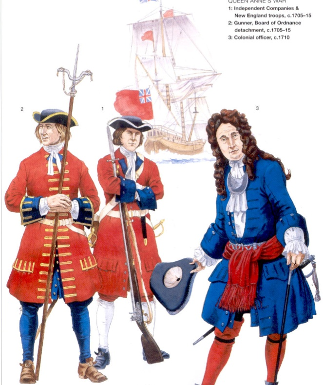 British soldiers of Queen Anne's War, 1705-1715.
