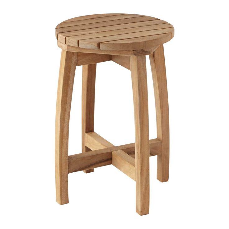 terrel round teak shower stool