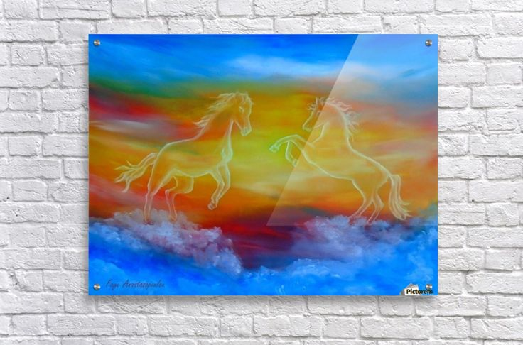 Canvas Print, for sale,horses,skyscape,scene,sky,clouds,sunset,wild,animals,wildlife,equine,equestrian,celestial,mesmerizing,transparent,magical,majestic,figures,picturesque,vibrant,vivid,colorful,blue,impressive,cool,beautiful,powerful,atmospheric,fantasy,whimsical,contemporary,imagination,dreamy,dreamlike,surreal,surrealism,figurative,fine,oil,wall,art,images,home,office,decor,painting,artwork,modern,items,ideas,pictorem