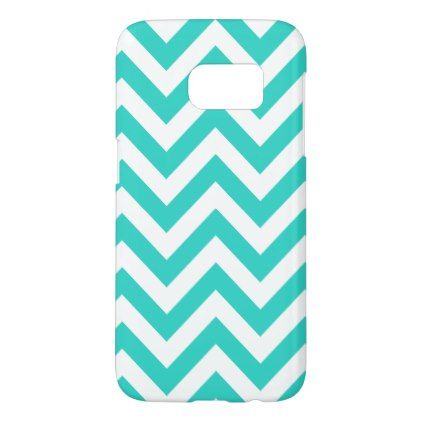 Turquoise And White Chevron Samsung Galaxy S7 Case  $26.85  by StylishCases  - custom gift idea