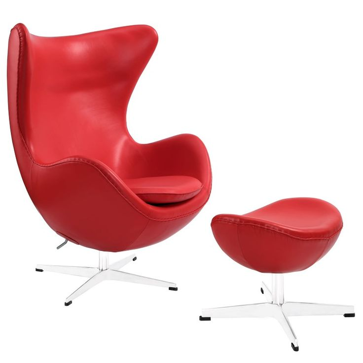 Glove leather lounge chair and ottoman red leather