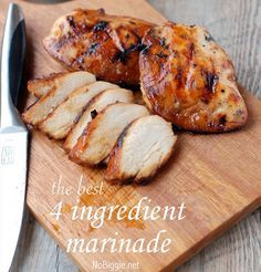 4 Ingredient Chicken Marinade: 1 cup brown sugar 1 cup oil 1/2 cup soy sauce 1/2 cup vinegar Here's Kyle's best grilling How-To when it comes to chicken: Fire up the grill and preheat to medium high. Place the chicken breasts on the grill and do not touch them for 6 minutes. Right at 6 minutes, you flip them over and then don't touch them for another 4 to 5 minutes.