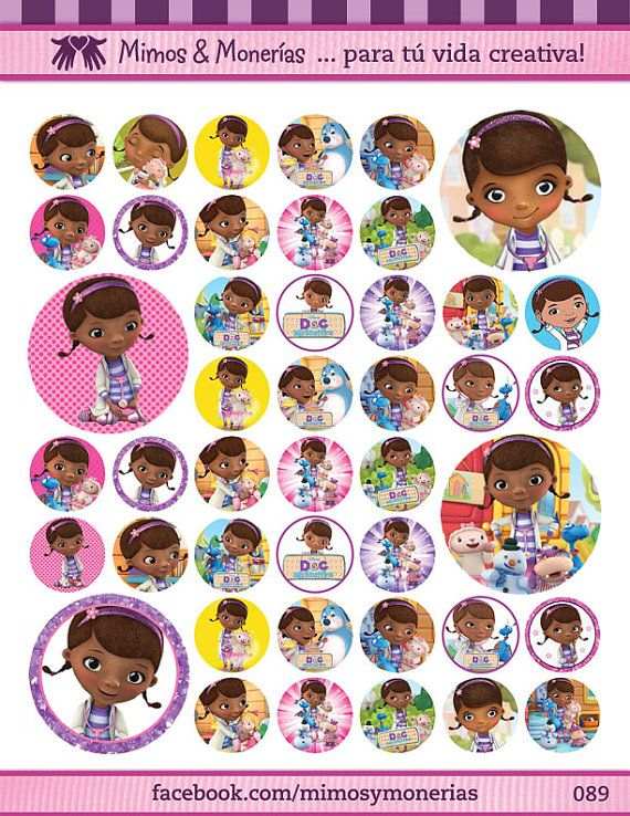 "Doc McStuffins Bottle Cap Images - 8.5"" x 11"" Digital Collage Sheet - 1"" Circles for Hair Bows"