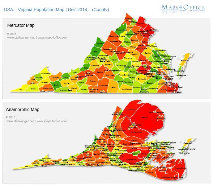 US Virginia Map County population density USA VA Map editable