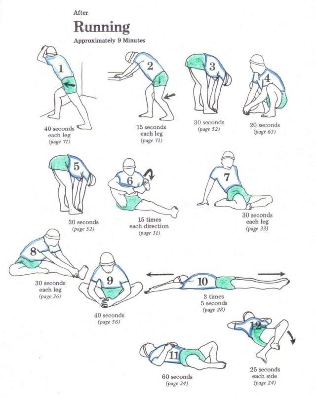 Stretches after running.