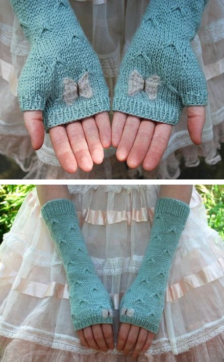 Knitting Pattern for Catching Butterflies Mitts - Fingerless mitts with stitch reminiscent of flying butterflies and butterfly appliques knit separately and sewn on. Designed by Tiny Owl Knits.