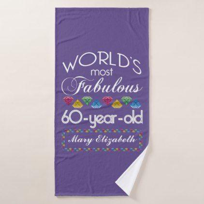 60th Birthday Most Fabulous Colorful Gems Purple Bath Towel - birthday diy gift present custom ideas
