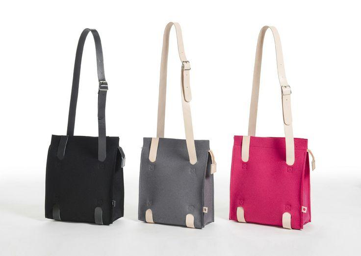 Jonas Hakaniemi for Lahtiset, JHFL 03, http://www.lahtiset.fi/fi/jhfl/jonas-hakaniemi-for-lahtiset.html #jonashakaniemi #lahtiset #felt #leather #bag #black #grey #pink
