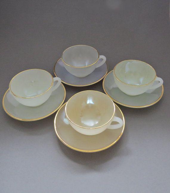 Arcopal Tea Set - Opalescent Tea Set - Arcopal Cups & Saucers - French Tea Set - French Arcopal Glassware
