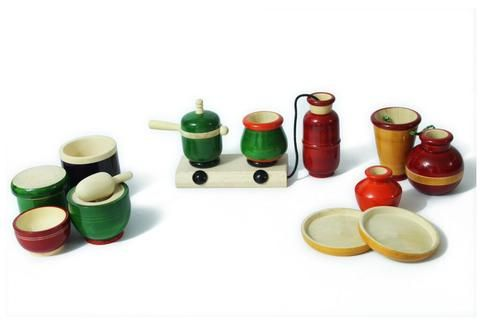 Introduce your child to the joy of Indian style of cooking with AATIKE's 'Little Chef Series' Fun & colourful cooking set is a great pretend toy for kids.The 14 pieces set includes a Hub with cylinder, pressure cooker, 2 vessels, 2 water containers, 1 bucket, 2 plates, 1 covering plate & 1 Indian style grinder.Handcrafted by artisans of Channapatna