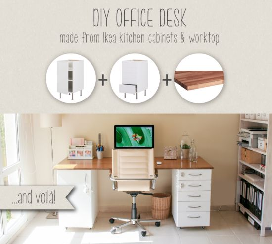 DIY office desk made from IKEA kitchen components - IKEA Hackers