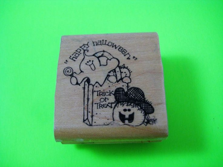 "HAPPY HALLOWEEN TRICK OR TREAT Rubber Stamp 1990 by D.O.T.S. 2"" X 2 1/8""  #DOTS #Image"
