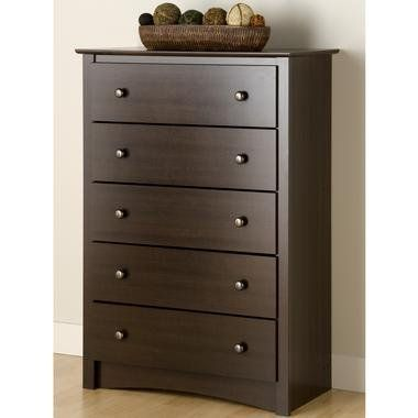 SkyMall 5-Drawer Chest - Espresso by SkyMall. $199.99. Mix and match with the platform storage beds. These high quality chests are made from durable composite woods. Highlights include solid metal knobs and drawers that run on smooth all-metal roller glides with built in safety stops. Other features include a profiled top, side moldings and an arched kick plate. The 5-drawer chest features five full-size drawers. Assembly required. 5-Drawer Nightstand - Espresso (31-1/2...