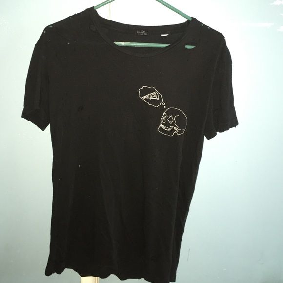 rare brandy Melville skull pizza shirt Black, purposely distressed with holes, brandy Melville skull thinking of pizza shirt, barely worn. Very rare Brandy Melville Tops Tees - Short Sleeve