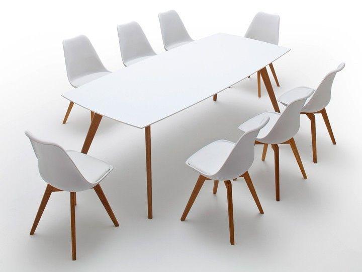 BASIL Stuhl Esszimmerstuhl Wartezimmerstuhl Weiß & Eiche - Ausstellungsstück
