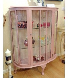 Antique Bow Fronted Glass Display Cabinet. Someone painted it pink...