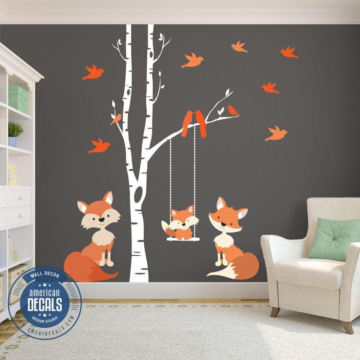 Famille Orange Fox Stickers Muraux Woodland Nursery   – Family