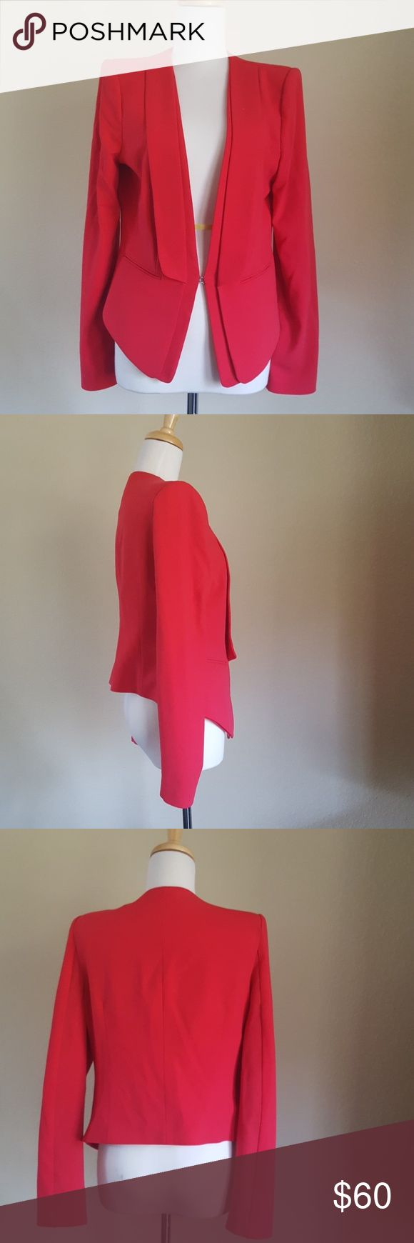 """BCBG MAX AZRIA """"Alex"""" Red Blazer Jacket LOVE this jacket! Minimal wear, maybe 3 times, so no stains or signs of wear, like new. Hook and eye closure, pocket details (do not open), layered lapel. Size M. The red has a pink or blue undertone to it - NOT an orangey red. BCBGMaxAzria Jackets & Coats Blazers"""