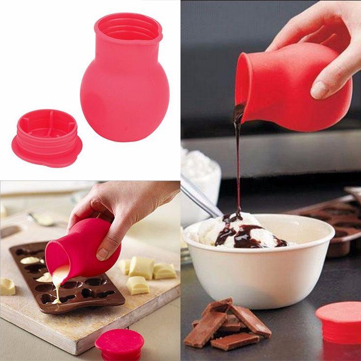 Silikon chocolate, Melting Pot cetakan, Saus mentega susu kue menuangkan panas dapur Microwave alat, Memasak gadget alat-alat dapur