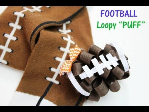 Pintober #5 Football Loopy Puff hairbow tutorial HOW TO MAKE FOOTBALL HA...