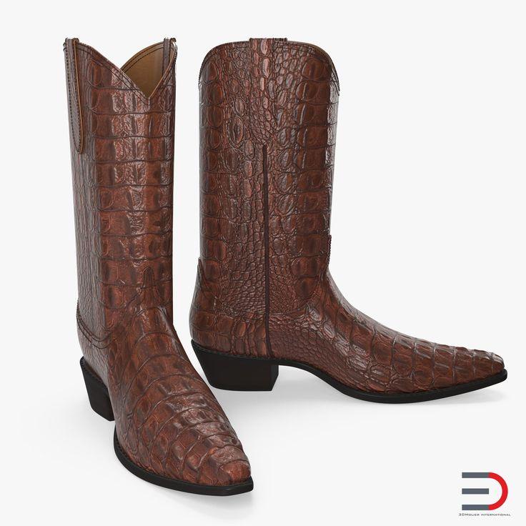 Crocodile Cowboy Boots 3D