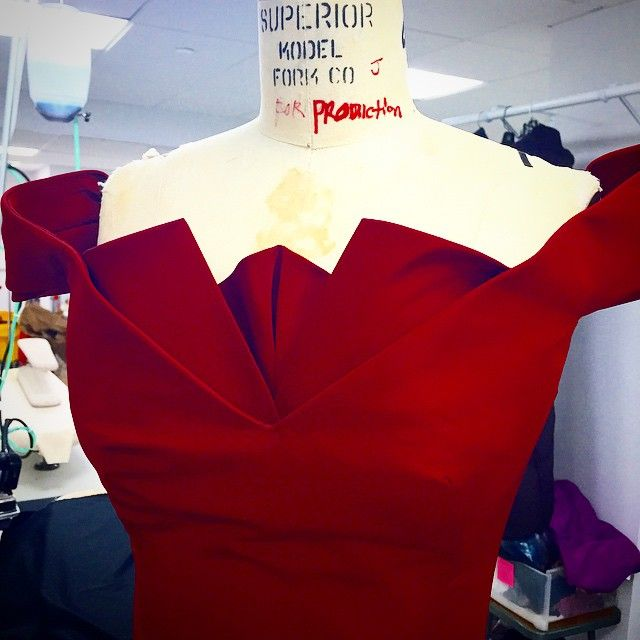 The neckline being worked on In the #ZacPosen #Atelier #process #craft #Red…