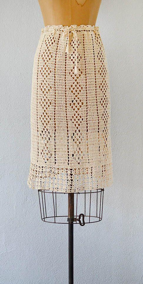 vintage 1970s crochet drawstring waist skirt | Case of You Skirt | #1970s #vintage #boho #crochet #vintageskirt