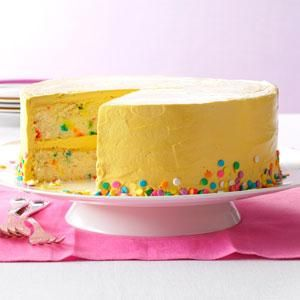 Confetti Cake with Brown Sugar Buttercream Recipe from Taste of Home