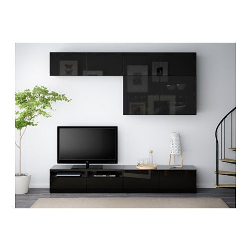 BESTÅ TV storage combination/glass doors - black-brown/Selsviken high gloss/black smoked glass, drawer runner, soft-closing - IKEA