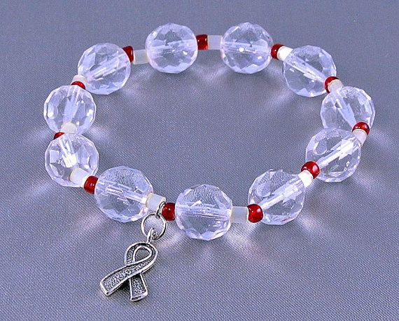 Throat Cancer, Head and Neck Cancer Awareness Bracelet with Hope Ribbon Charm, with Donation