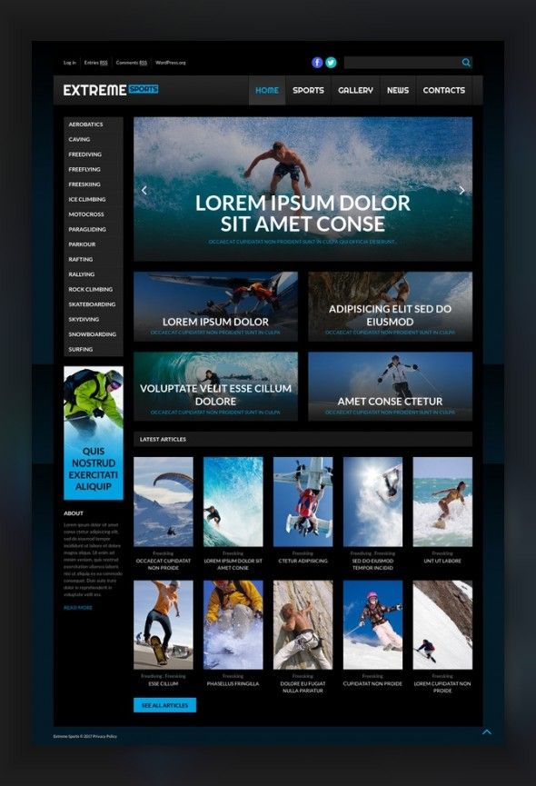 Extreme Sport WordPress Theme CMS & Blog Templates, WordPress Themes, Sports, Outdoors & Travel, Sport Templates, More Sports, Extreme Sports Templates