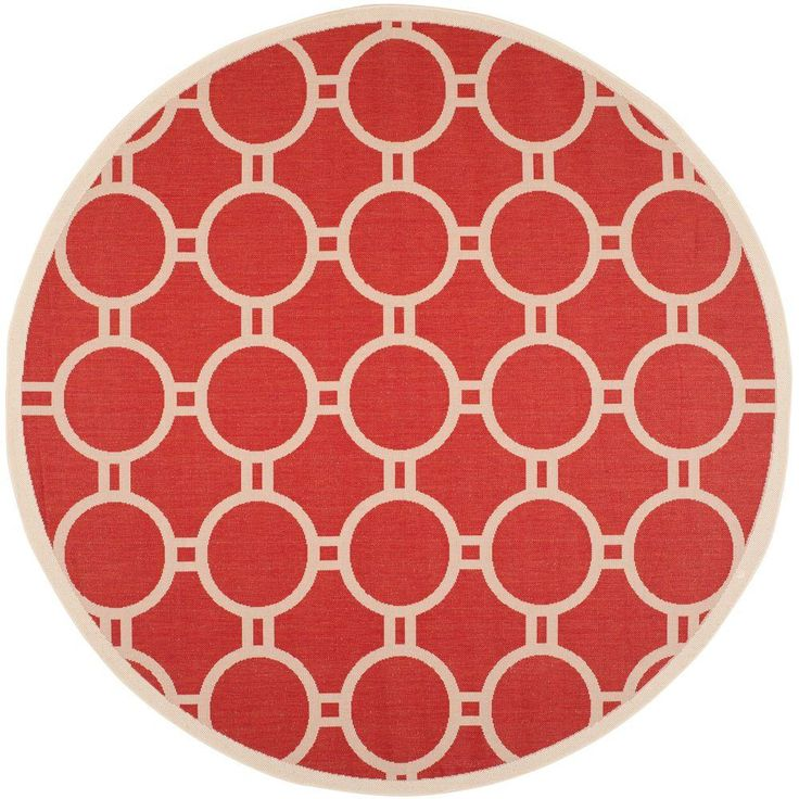 Courtyard Red/Bone (Red/Ivory) 7 ft. 10 in. x 7 ft. 10 in. Indoor/Outdoor Round Area Rug