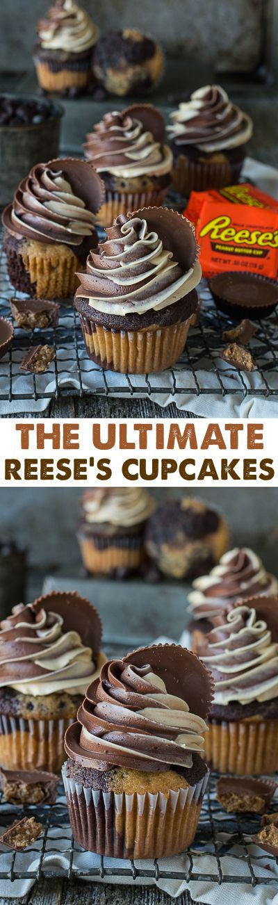 The ultimate Reese's Cupcake! With swirled chocolate peanut butter cake and swirled chocolate peanut butter buttercream and topped with a reese's peanut butter cup!