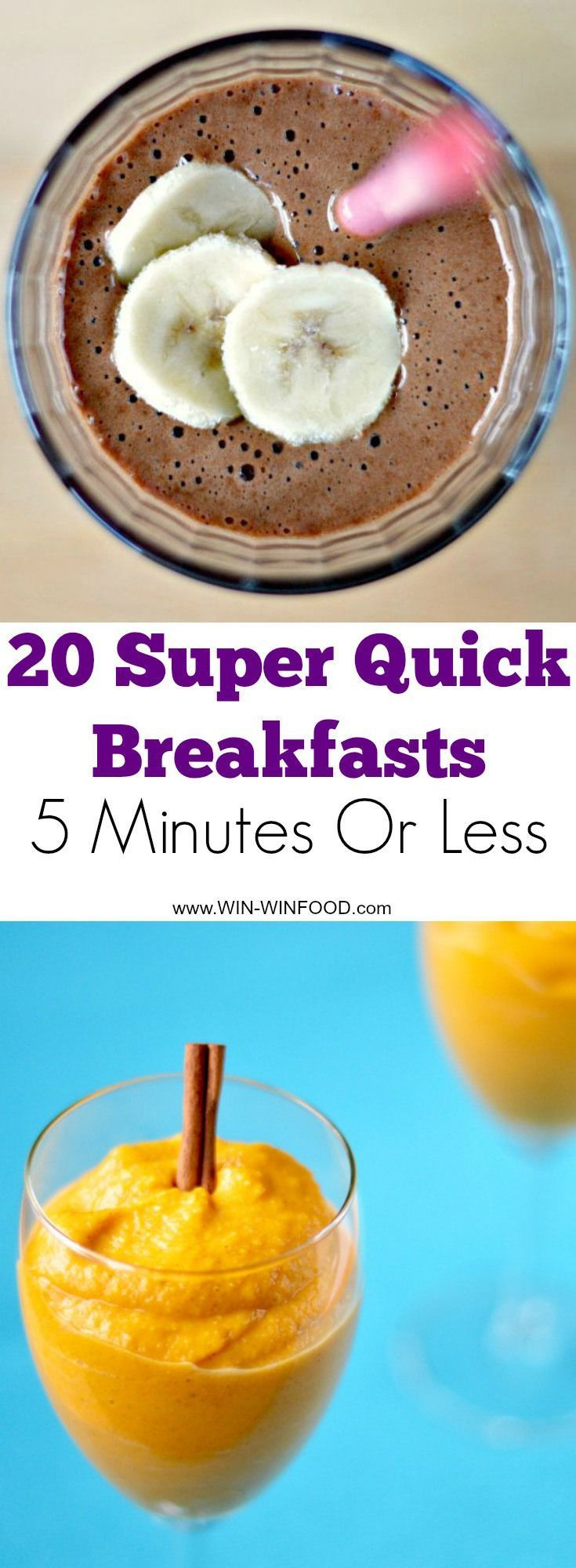 20 Quick Vegan Breakfast Recipes - 5 Minutes Or Less. Refined sugar free. Most of the recipes are also #gluten-free!