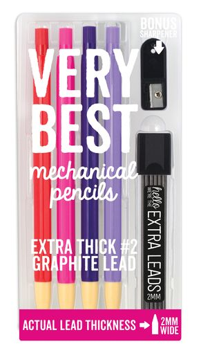Mechanical lead pencils that are so thick you can sharpen them. Writing and drawing won't be quite the same with the Very Best Mechanical Pencils.