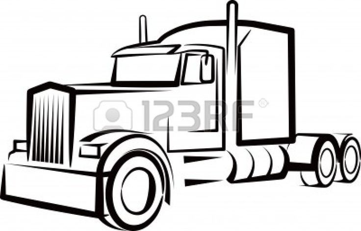 semi truck outline for a shirt