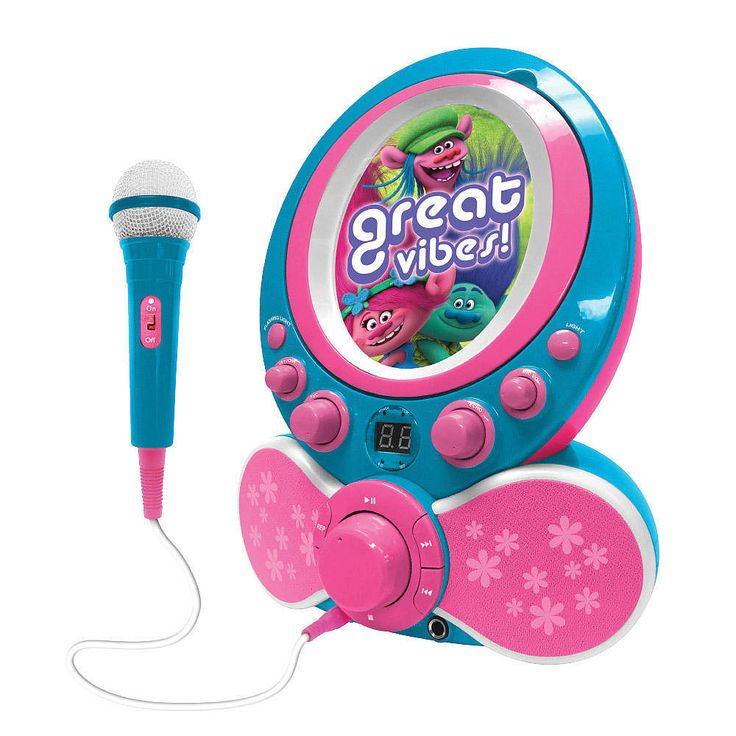 Sing along to your favorite CD's anywhere you go with this portable karaoke machine made just for kids? Includes CDG with songs from the Movie!<br><br>The Dreamworks Trolls Portable CDG Karaoke System with Microphone Features:<br><ul><li>CD Player</li><br><li>Sing along To Lyrics When Connected to a TV</li><br><li>Play Music From Any Music Device</li><br><li>Fun Echo Effects with Colorful Flashing LED Lights</li><br><li>Audio /Visual Cables Included</li></ul>