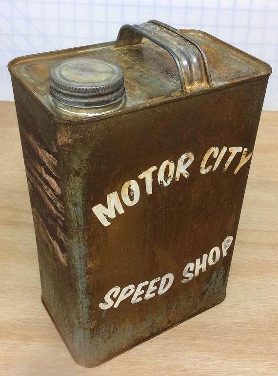 Motor City Speed Shop Bonneville Gasoline Gallon Decorative Distressed Gas Can