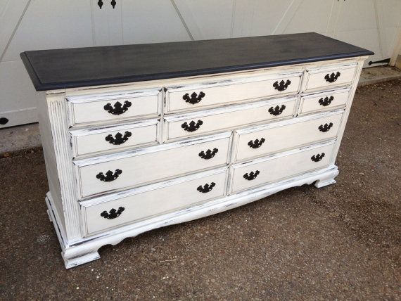 Shabby Chic Black And White 10 Drawer Dresser By Bshabbyboutique