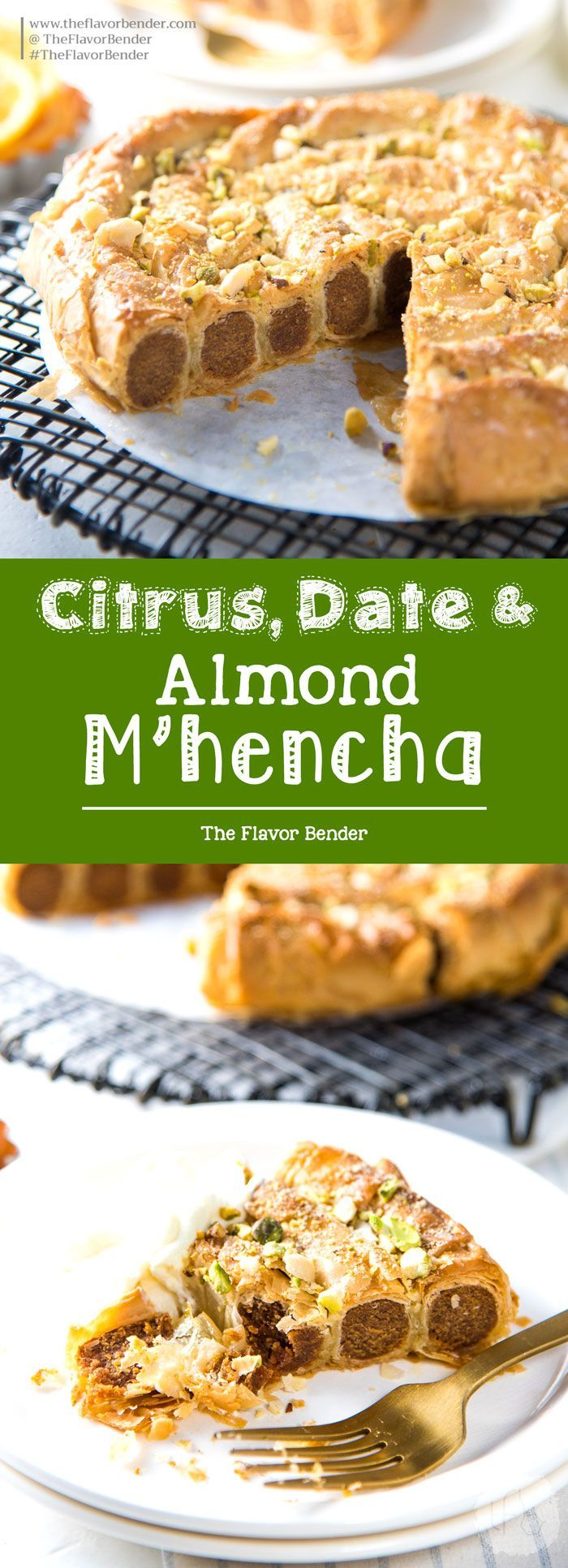Citrus, Date and Almond M'hencha with Orange blossom honey syrup - A delicious and exotic Moroccan delicacy! A sweet date and almond paste wrapped in honey syrup soaked filo pastry.It tastes just as amazing as it looks! #FiloPastry #MoroccanDesserts #Mhencha  via @theflavorbender