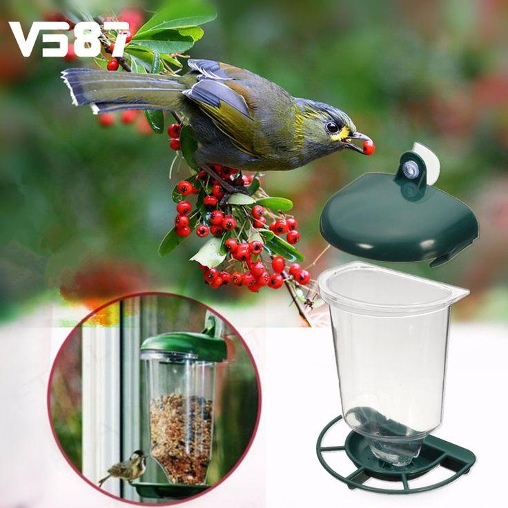 Kaca Jendela Perspex Jelas Melihat Burung Makan Burung Menggantung Cangkir Hisap Otomatis Makan Biji Kacang Pakan Untuk Hewan Peliharaan Macaw